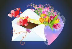 Letter and flowers Royalty Free Stock Photos