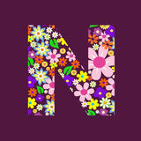 Letter of flowers N Stock Photo