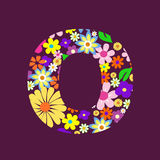 Letter of flowers O Stock Image