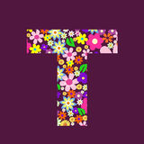Letter of flowers T Stock Image
