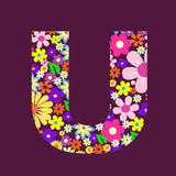 Letter of flowers U Stock Photography