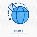 Letter flying around globe thin line icon. Symbol of quickly delivery, e-mail correspondence. Vector illustration Royalty Free Stock Photography