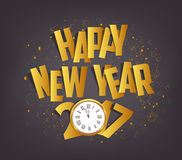 Letter Folding with Paper and clock, Happy New Year 2017.  Stock Photos