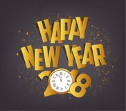 Letter Folding with Paper and clock, Happy New Year 2018.  Royalty Free Stock Images