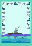 Letter form fish and fisherman. Cartoon sea animals with fisherman in a boat royalty free illustration