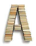 Letter A formed from the page ends of books Royalty Free Stock Photography