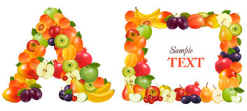 Letter A and a frame made from fruit. Stock Images