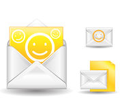 Letter from friend. Yellow letter with smile from friend Royalty Free Stock Photography