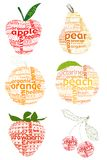 Letter and fruit sampler. Organic fruits concept was created with typographic design Royalty Free Stock Images