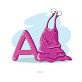 Letter A with funny Alien Royalty Free Stock Images