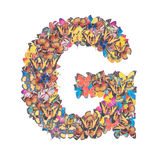 Letter G alphabet with butterfly Stock Photography
