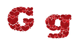 Letter G of alphabet made from hearts. Letter G, uppercase and lowercase of alphabet made from hearts Royalty Free Stock Photo