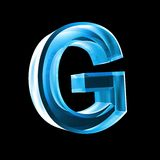 Letter G in blue glass 3D Royalty Free Stock Photography