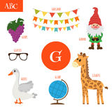 Letter G. Cartoon alphabet for children. Giraffe, gnome, grape, Stock Images