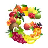 Letter G composed of different fruits with leaves Stock Photography