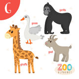 Letter G. Cute animals. Funny cartoon animals in vector. ABC boo. K. Vector illustration Stock Photos