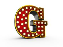 Letter G 3D Broadway Style. High quality 3D illustration of the letter G in Broadway style with light bulbs illuminating it over white background royalty free illustration