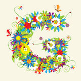 Letter G, floral design Stock Photography