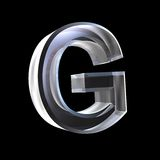 Letter G in glass 3D Royalty Free Stock Photo