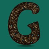The Letter G with Golden Floral Decor. Dark brown symbol. Yellow flowers and plants with metallic blazing effect. Blue small hearts. Vector Illustration Royalty Free Stock Photo