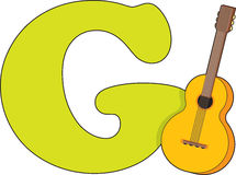 Letter G with a Guitar Stock Photography