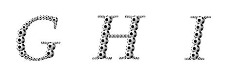 Letter G, H, I from footballs Stock Images