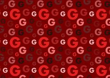 Letter G pattern in different color red shades pattern. For wallpaper stock illustration