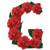 Letter G red roses  illustration Stock Photo