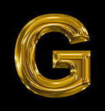 Letter G rounded shiny golden isolated on black. Background Royalty Free Stock Photos