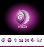 Letter G sphere 3d logo. Vector company logo icon element template alphabet letter g sphere set purple pink games media globe global advertising stock illustration