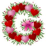 Letter G - Valentine letter. Letter G - with heart, bow, ribbon and leaf royalty free illustration