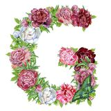 Letter G of watercolor flowers stock illustration