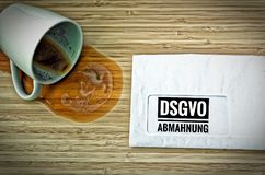 Letter with in german Achtung DSGVO-Abmahnung in english attention DSGVO GDPR warning Royalty Free Stock Image