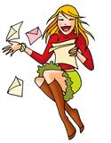 Letter girl 03. Cute girl reading letters with fun Royalty Free Stock Photo