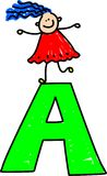 Letter A girl Stock Photos