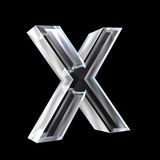 Letter X in glass 3D Stock Photo