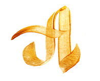 Letter A with gold acrylic paint brush Royalty Free Stock Photography