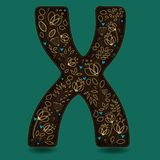 The Letter X with Golden Floral Decor. Dark brown symbol. Yellow flowers and plants with metallic blazing effect. Blue small hearts. Vector Illustration Stock Image