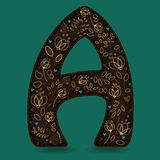 The Letter A with Golden Floral Decor. Dark brown symbol. Yellow flowers and plants with metallic blazing effect. Blue small hearts. Vector Illustration Royalty Free Stock Photos