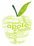 Letter green apple. Organic fruits concept was created with typographic design Stock Photo
