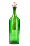 Letter in the green bottle. With clipping path Royalty Free Stock Photography