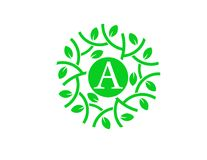 Letter A with green leaf circle logo concept Royalty Free Stock Photography