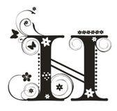 Letter H. Decorative letter with flowers for design stock illustration