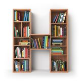 Letter H. Alphabet in the form of shelves with books isolated on Stock Photos
