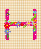 The letter H Bright floral element of colorful alphabet in  Stock Photos