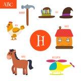 Letter H. Cartoon alphabet for children. Hen, horse, hat, house, Stock Photos