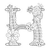 Letter H Coloring Book For Adults Vector Royalty Free Stock Image