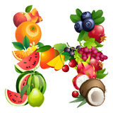 Letter H composed of different fruits with leaves Stock Photos