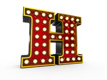 Letter H 3D Broadway Style. High quality 3D illustration of the letter H in Broadway style with light bulbs illuminating it over white background vector illustration
