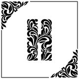 The letter H. Decorative Font with swirls and floral elements. Vintage style.  Royalty Free Stock Photos